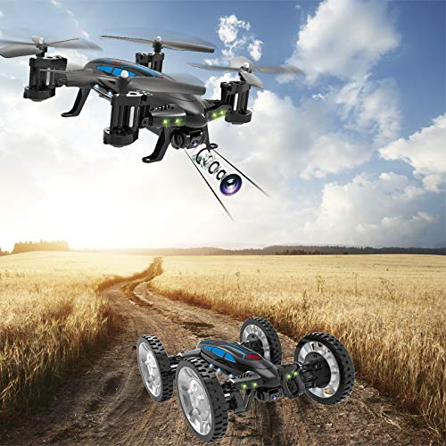 Mallalah RC Drone Voiture 2 en 1Quadricoptère Car Air-Road 2.4G Télécommandé 0.3 MP Caméra WiFi FPV Transmission en Temps Réel Volante Véhic... 27