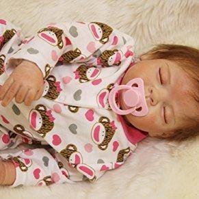 ZELY 55 cm 22 Pulgadas Recien Nacidos Niña Dolls Magnético Chupete Reborn Muñeca Bebé Ojos Cerrados Silicona Vinilo Juguete