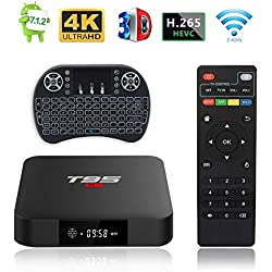 Android TV Box, T95 S1 TV Box 2GB RAM/16GB ROM Android 7.1 Amlogic S905W Quad Core Soporte 2.4GHz WiFi H.265 4K HDMI DLNA Reproductor Multimedia con Mini Teclado Inalámbrico