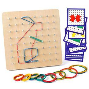 Coogam Geoboard de Madera con Tarjetas de Actividad y Bandas de Goma - 8x8 Geometría Geoboard Montessori Rompecabezas de…