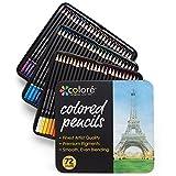Colore Crayons de couleur - Ensemble de 72 crayons de couleur prime Pré-taillés pour dessiner des pages à colorier - Un super équipement d'art scolaire pour enfants et adultes - Livres à colorier