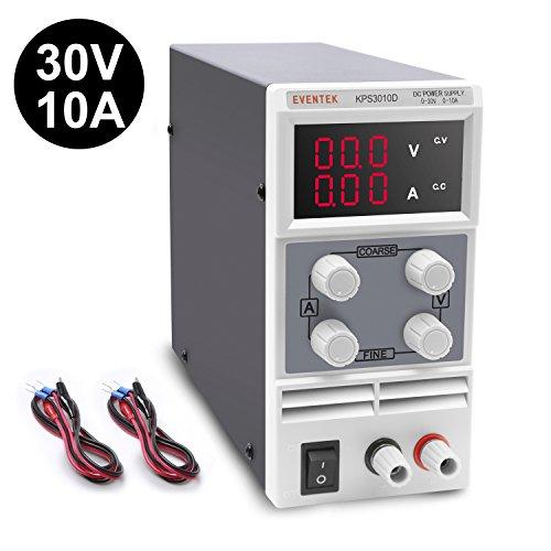Eventek Fuentes de Alimentacion Regulables DC 0-30V / 0-10A Regulable Digital Ajustable Transformador, para Laboratorio, Reparación General