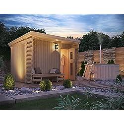 Premium Gartensauna Fides von Isidor; Outdoorsauna mit 4,1m² großem Saunaraum inkl. Sauna-Innenausstattung auf insgesamt 6 m² Gebäudefläche