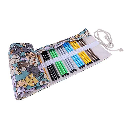 Arrotolabile tela matita Wrap per 48Pastelli e matite Roll Up Astuccio Portapenne con coulisse...