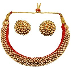 Tejas immitation jewellery Traditional Golden Gold-plated Handmade Weny Thushi Necklace with Earrings for Women and Girls