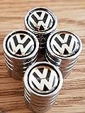 Cappuccio per la camera d'aria della ruota, con logo lussuoso Volkswagen, nero in superficie, cromato, adatto per Polo, Beetle, Golf, Gte, Jetta, Scirocco, Touran, Passat, Tiguan, Sharan, Touareg XL1