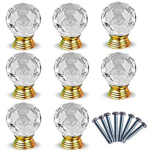 Maniglie per porte a sfera in cristallo in lega di zinco Maniglia a tiranti in oro per cassetto...