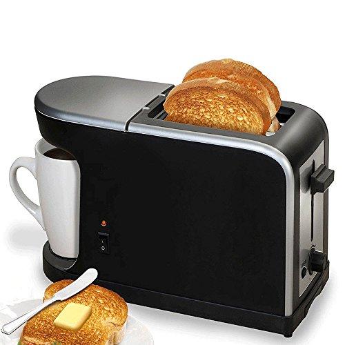 FISHTEC Breakfast 2 in 1, Macchina da caffé americano, tostapane, 900 W