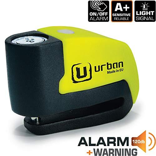 Urban Security UR6 Candado Antirrobo Disco con Alarma+Warning 120dB, ø6, Made in EU.