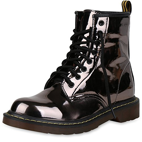 b5ac17519117a6 SCARPE VITA Damen Stiefeletten Outdoor Worker Boots Leder-Optik Schuhe  148828 Grau Braun 36