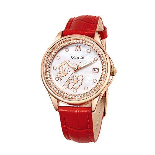COMTEX Reloj de cuarzo para mujer,con correa de cuero,color rojo,reloj de mariposa