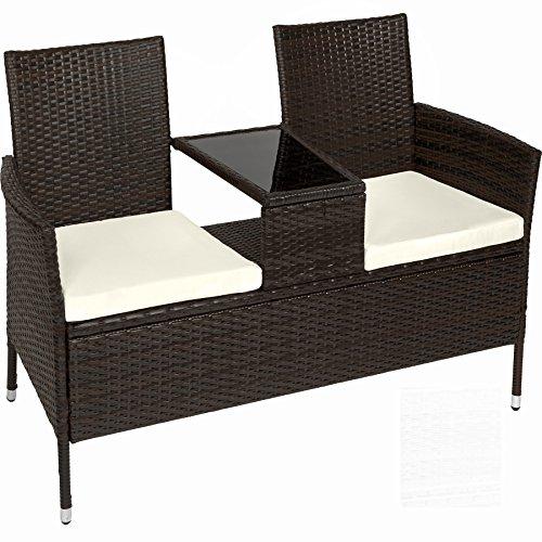 TecTake Divano da giardino divanetto tavolino da giardino in polyrattan + cuscini - disponibile in...