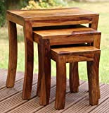 True Furniture Sheesham Wood Nesting Tables Set of 3 Stools | Honey Finsih