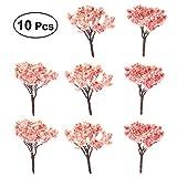BESTOMZ 10pcs Jardín de hadas en miniatura de la planta del árbol Ornamentm, Cherry Trees Park Decor Moss Bonsai Micro paisaje Jardín de artesanía de DIY ornamento (6.5 cm)