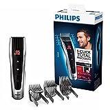Philips HC7460/15 - Cortapelos con cuchillas de acero inoxidable, 3 peines-guía motorizados, con botones de control, batería, azul