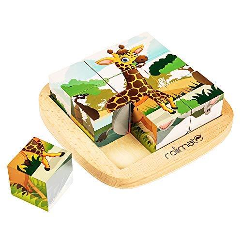 rolimate Puzzle in Legno educativo Puzzle cubo Puzzle Viaggio - Leone Zebra Elefante Rinoceronte...