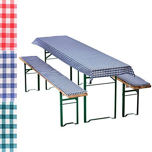 Bierbankauflagen-Set 3-teilig in blau: 1 Tischdecke 240 x 70 cm + 2 gepolsterte Bierbankauflagen 220 x 25 cm - weitere Farben wählbar