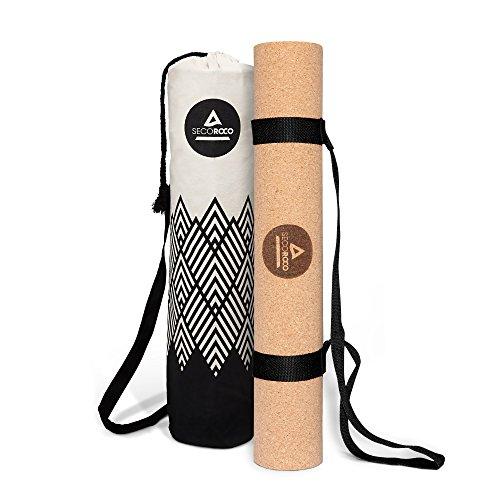 Secoroco Trainings- und Yogamatte aus Kork und Kautschuk in 3mm Stärke aus 100{28f286cdb5e930b6a88140e94d175bcc83cf3a7c3e79427c86dc30eb102c8e18} umweltfreundlichen, natürlichen und rutschfesten Materialien. Inklusive strapazierfähiger Yogatasche aus Leinen