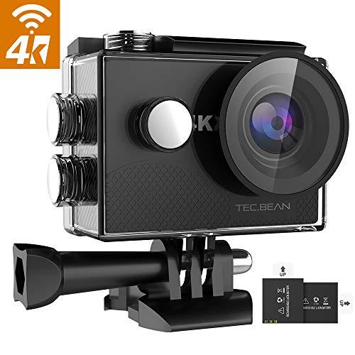 TEC.BEAN 4K 16MP Action Cam, WiFi Ultra HD Action Camera, Fotocamera Subacquea Impermeabile 30M con Schermo LCD da 2', Obiettivo Grandangolare 170 ° / 2 Batterie Ricaricabili / 19 Accessori