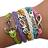 Amesii colorate multicolor infinity Love Faith Anchor wedding fascino braccialetto bangle