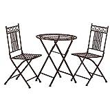 Tisch + 2 Stühle *Paris* Garnitur Gartenmöbel Sitzgarnitur Metall antikbraun