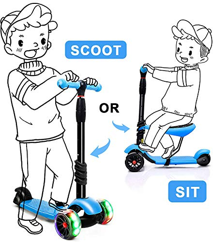 Magicwand 3-in-1 Sit &Stand Wide Platform Height Adjustable Kick & Push Scooter for Kids with Removable Seat (Blue)