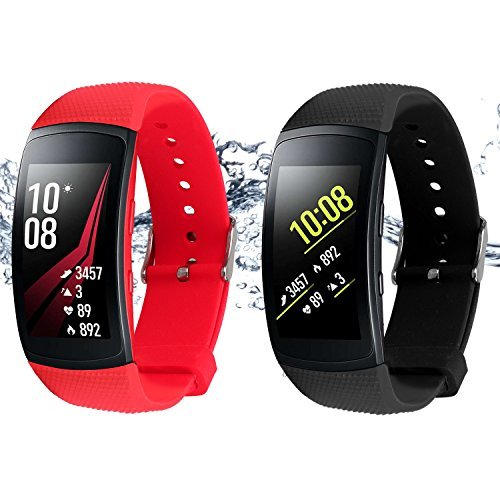 Rukoy Cinghie per Samsung Gear Fit 2 Band/Gear Fit 2 Pro [2-Pack: Nero + Rosso], Bande di ricambio Accessori per Samsung Gear Fit2 Pro SM-R365/Gear Fit2 SM-R360 Smartwatch (5.9'-7.5')