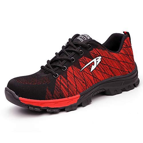 Zapatos de Seguridad para Hombre Transpirable Ligeras con Puntera de Acero Zapatillas de Seguridad Trabajo, Calzado de Industrial y Deportiva