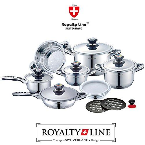 Royalty Line Switzerland Batteria Pentole 16 pezzi Nuova Serie in scatola regalo, ACCIAIO INOX...
