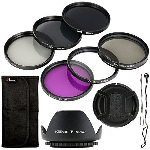 Set di 6 pezzi con filtro UV CPL ND, paraluce, supporto di 58mm per Canon EOS, Canon EOS Rebel XSi, T4i, T3i, 70D, 60D, 700D, 650D, 1100D, 1000D 600D, 50D, 550D, 1DX, 5D, Mark 5D2,5D36,Rebel XSi T4i, LF134.