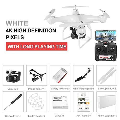 Drone a Lungo Tempo Di Volo da 25 Minuti, Quadricottero JJRC JJPRO H68 RC con Telecamera Rimovibile 1080P / 4K Modalità Elicottero WiFi Controllo APP Miglior Drone ( Color : White , Size : 4K pixels )