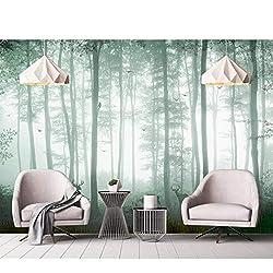 Papier Peint Murale Rêveur Woods Sika Cerf Salon Chambre Fond Mur Brouillard Forêt Tv Fond Mur 3D Soie Tissu (W)500x(H)280cm