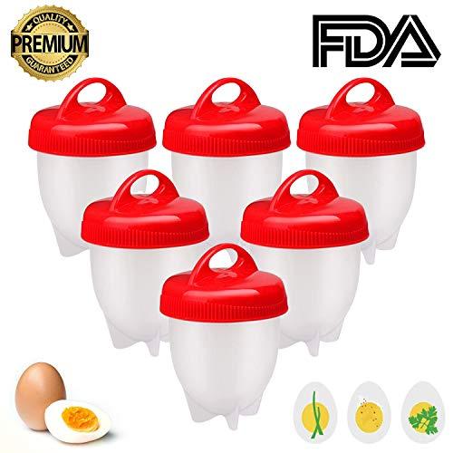 Cuoci Uova Sode, 6 Pezzi Cuociuova Bolli Uova Sode Silicone Senza Guscio Ovetti Strumento per Uova...