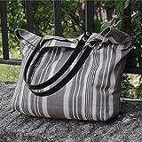 Bolso - Rayas - Shopping bag - Maxibolso al hombro hecho a mano en lona, con asas de piel desmontables