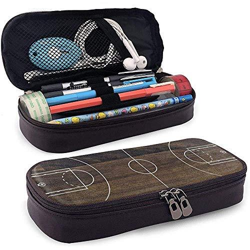 Campo da basket in pelle PU in legno vintage con portamatite, astuccio, portamonete, borsa per...