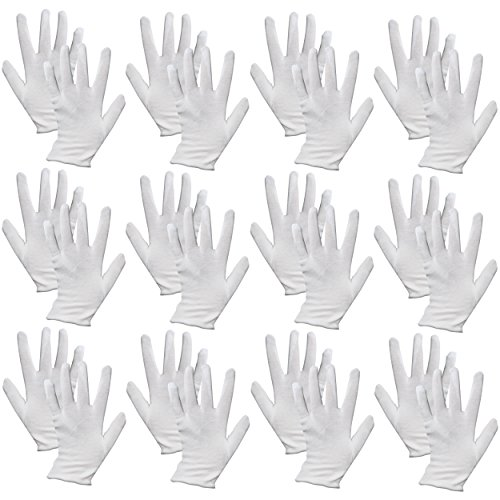 12 Pairs of Multi Purpose Mime Fancy Dress 100% Cotton White Gloves by Robelli