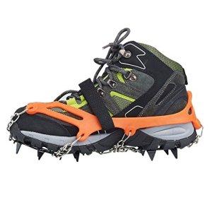 Crampones - SODIAL(R) 2 x zapatos de crampones de 12 dientes de garras antideslizantes cadena de cubierta de acero inoxidable al aire libre de esqui de senderismo en tipos variedad de terreno,naranja 10