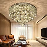 SPARKSOR Ø40CM Premium 6-Lights G9 Modern Elegant Round Ceiling Light Pendant Fixture Lighting Crystal Chandelier ...Modern Living Room Bedroom Hallway Chandelier