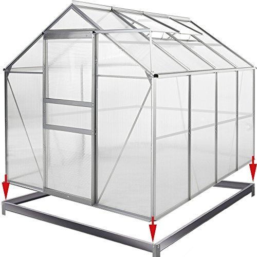 Deuba® Aluminium Gewächshaus | 7,63m³ mit Fundament | 250x190cm | Treibhaus Gartenhaus Frühbeet Pflanzenhaus Aufzucht