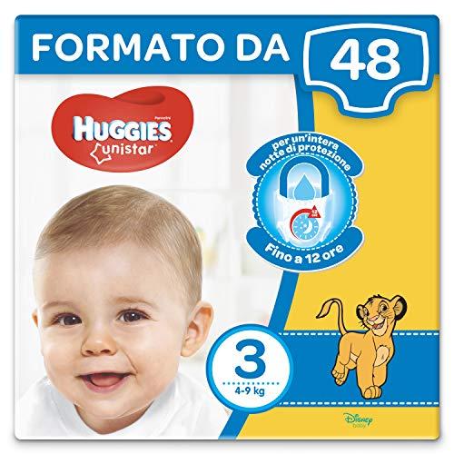 Huggies Unistar Pannolini, Taglia 3 (4 - 9 kg), Confezione da 48 Pannolini