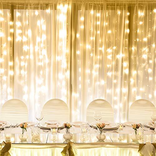 LE Luce Stringa Luminosa Led per Finestra Balcone 6 x 3m 594 LED da 6W, Luci Catena Bianco Caldo 8...