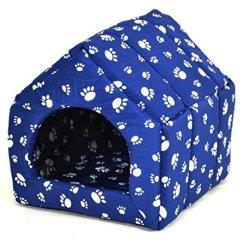 katzeninfo24.de nanook Katzenhöhle / Hundehöhle Homeblue Größe S ? 28 x 32 cm- blau mit weißen Pfoten