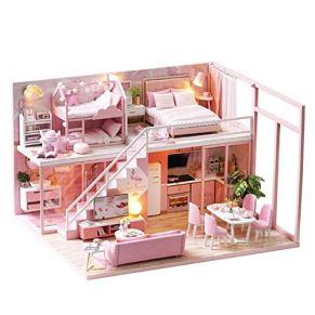 Juguete Modelo DIY Dollhouse, Kit de casa de muñecas en Miniatura, Juguete de Madera para Muebles de casa de muñecas para niños Regalo para niños, con 6 Luces LED