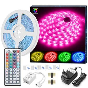Minger LED Ruban 5M 5050 RGB SMD Multicolore Bande LED Lumineuse