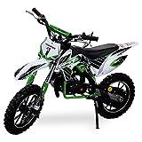 Kinder Mini Crossbike Gazelle 49 cc 2-takt inklusive Tuning Kupplung 15mm Vergaser Easy Pull Start verstärkte Gabel Dirt Bike Dirtbike Pocket Cross Mini Bike grün