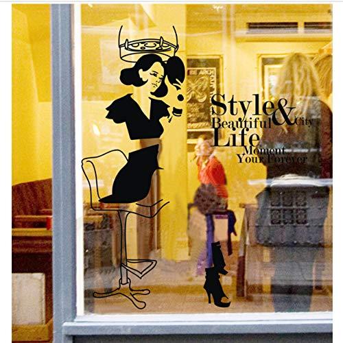 fqz93in Adesivo da Muro per Parrucchieri Bellezza Salone di Bellezza Barbiere Parrucchiere Hksil Negozi Vetrofanie Decorazione personalità Sfondo Adesivi Murali55X68Cm