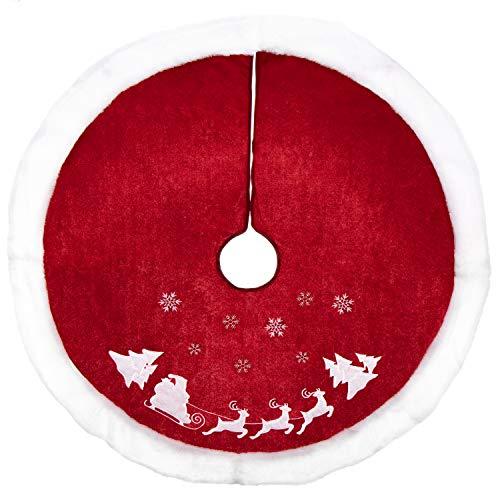 com-four® Cubierta de árbol de Navidad para protección contra Agujas de Pino - Cubierta de árbol de Navidad Redonda para el árbol de Navidad (001 Piezas - Trineo Rojo/Blanco con Escamas)