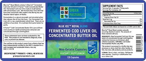 Green Pasture Blue Ice Royal Butter Öl/Fermentierter Lebertran - 120 Kapseln