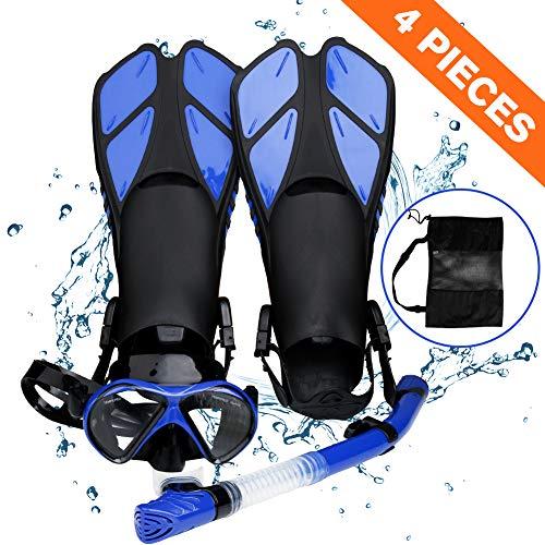 Smyidel Set di boccaglio,Set per Snorkeling e Immersioni, Maschera Subacquea + Pinne + Tubo Respiratore + Sacca da Trasporto, Unisex Kit Maschera Nuoto per Adulti Adolescenti (Blu)