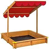 TecTake Arenero con techo regulable cajón de arena jardín juego para niños madera - disponible en diferentes colores - (Rojo | No. 402221)